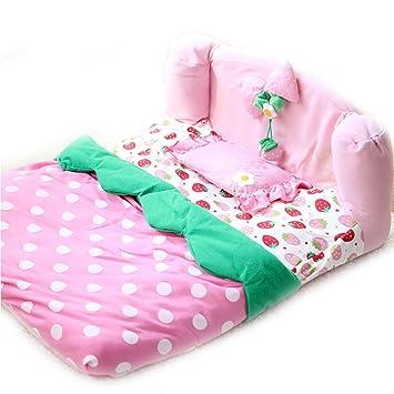 Bonita cama para perro de fresa de lujo con almohada para mascota, gato, perro
