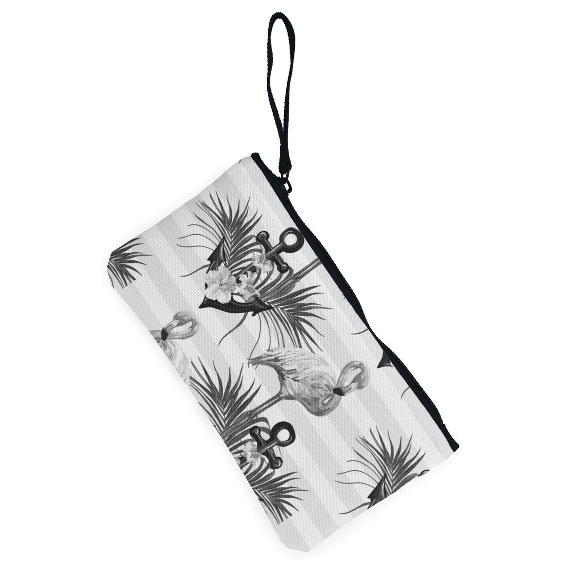 Bk55Oi/&/& Womens Retro Purse Flamingo Palm Leaves Pattern Canvas Card Wallet with Zipper for Women