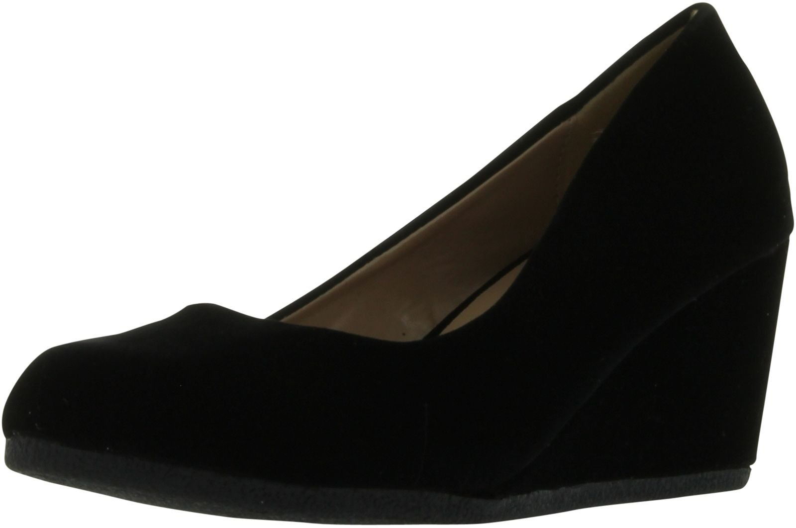 Forever Link Women's Patricia-02 Wedge Pumps Shoes,Black Suede,10