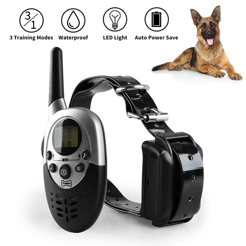 NACRL Dog Training Collar with LED Light Electronic Rechargeable Waterproof with Remote and Receiver Vibration,Shock,Beep 3 Training Modes UP to 1000yd Remote Range