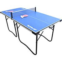 DRM 6FT Foldable Table Tennis Table Game Set Indoor Outdoor Portable PingPong Game Table with Net, 2 Table Tennis Paddles, 2 Balls Great for Small Spaces and Apartments