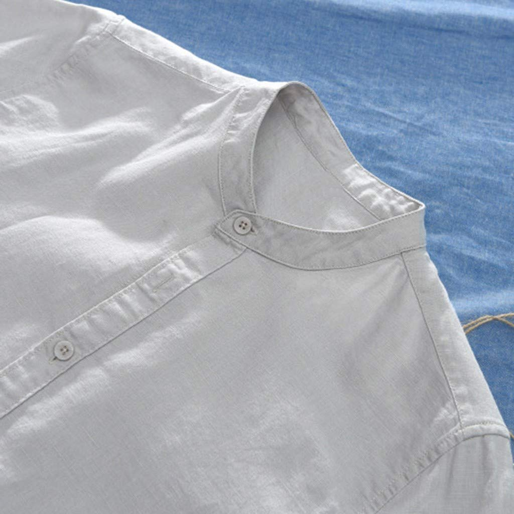 M/änner Slim Fit Hemd aus festem Leinen Baumwolle Kurzarm Amphia Herren Leinenhemd Kurzarm