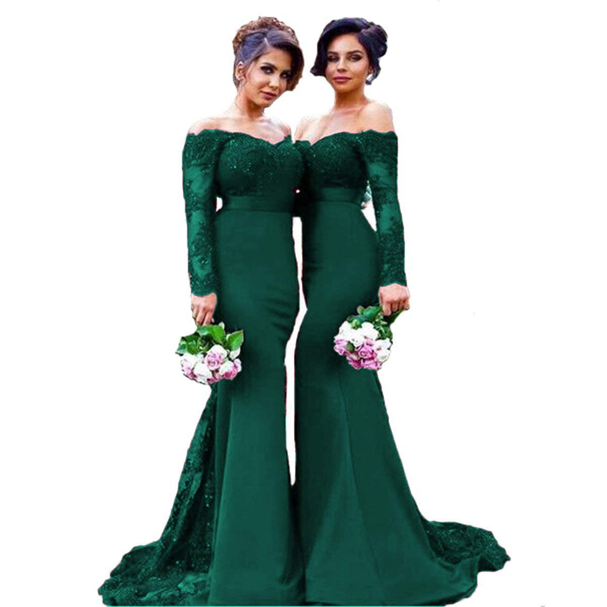 Dark Green Liaoye Women's Lace Prom Dress Mermaid Off Shoulder Long Sleeve Bridesmaid Dresses Prom Evening Dress Formal Gowns