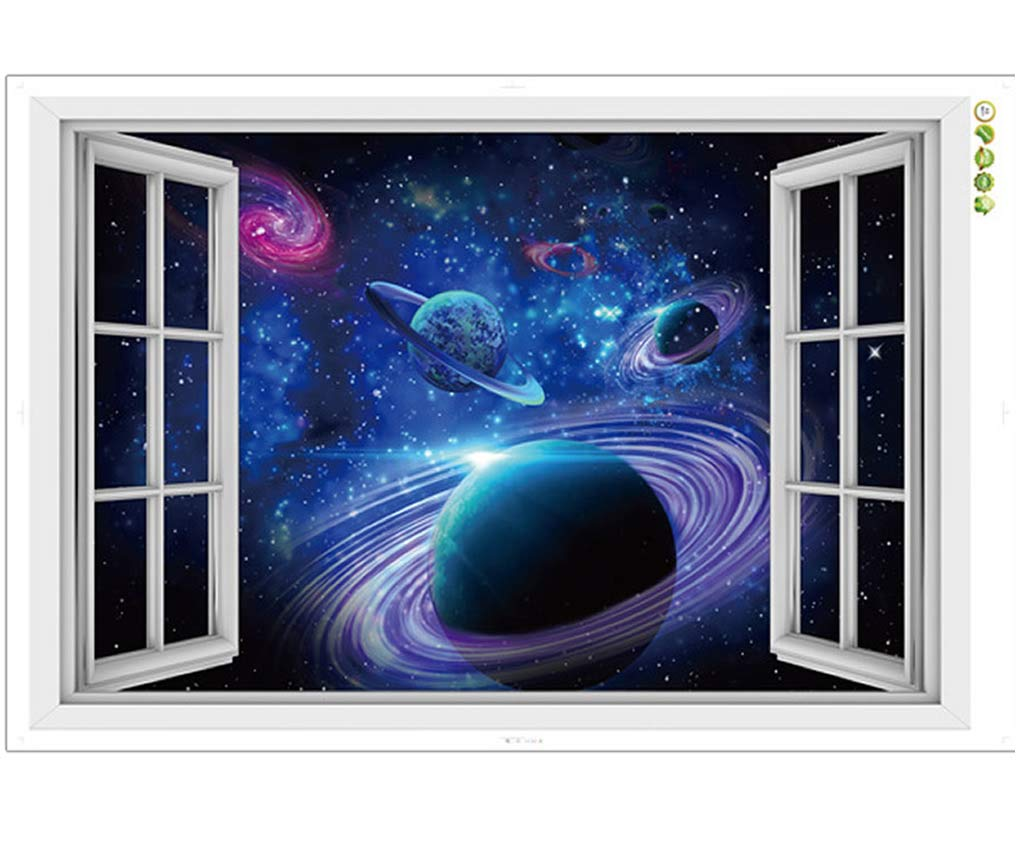 CNUSER Window View Wall Murals, 3D Space Stickers,Outer Star Wall Decals Milky Way Galaxy Decorations