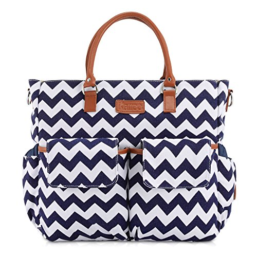 Kattee Chevron Diaper Bag Baby Nappy Tote Bag with Changing Pad & Bottle Holder White & Dark Blue
