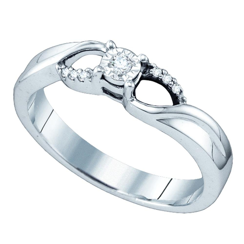 Sterling Silver Womens Round Diamond Solitaire Promise Bridal Engagement Ring 1/20 Cttw