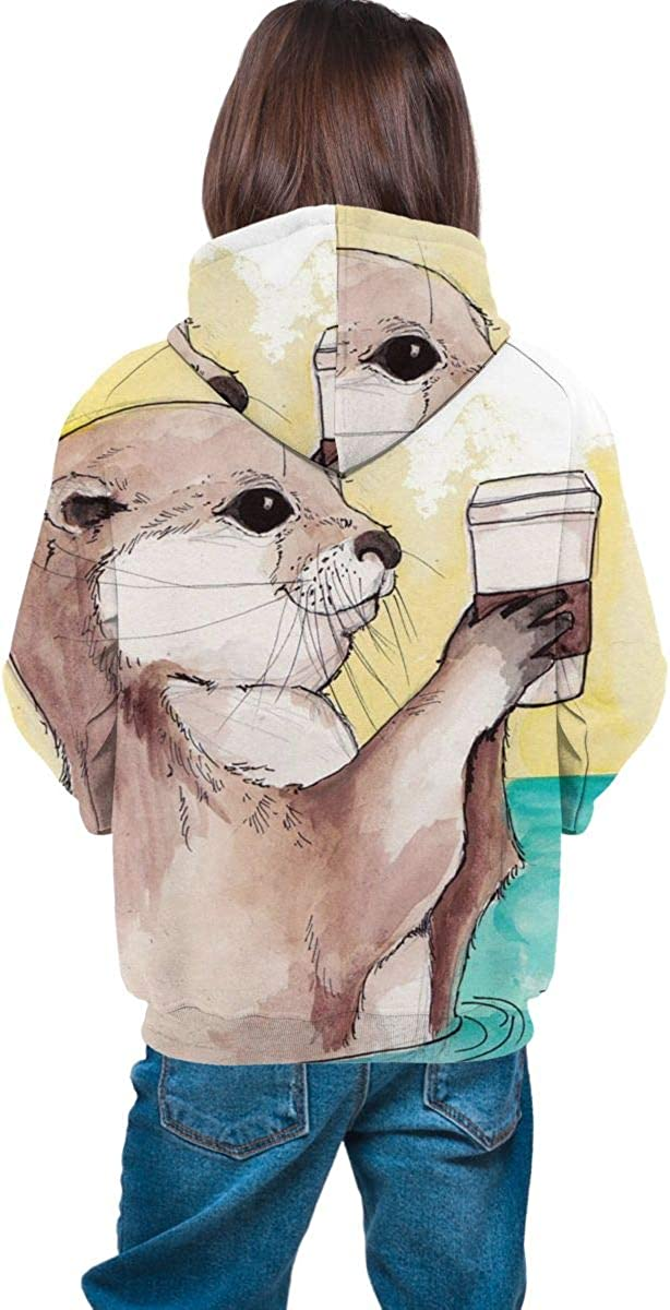 HengStore Watercolor Otter Fleece Pullover Hooded Sweater Casual for Teen Boys Girls School