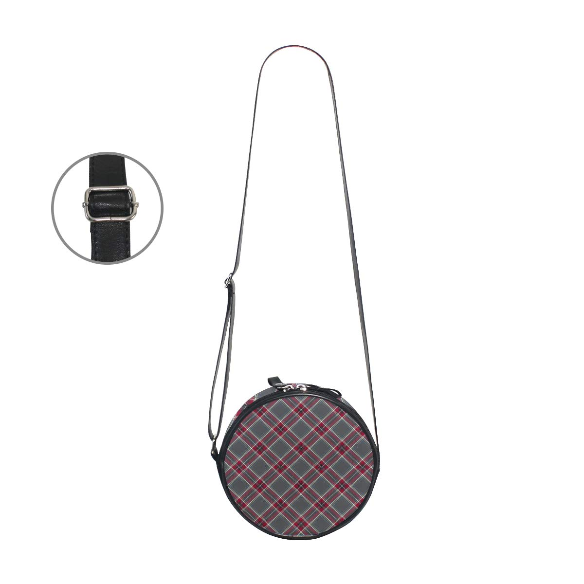 Crossbody Bag Gray Red Diagonal Plaid Womens Casual Phone Pouch Round Shoulder Bag