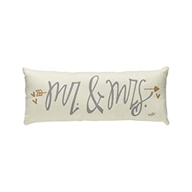 Collins 13'' Long  Mr. & Mrs.'' Beige Accent Throw Pillow