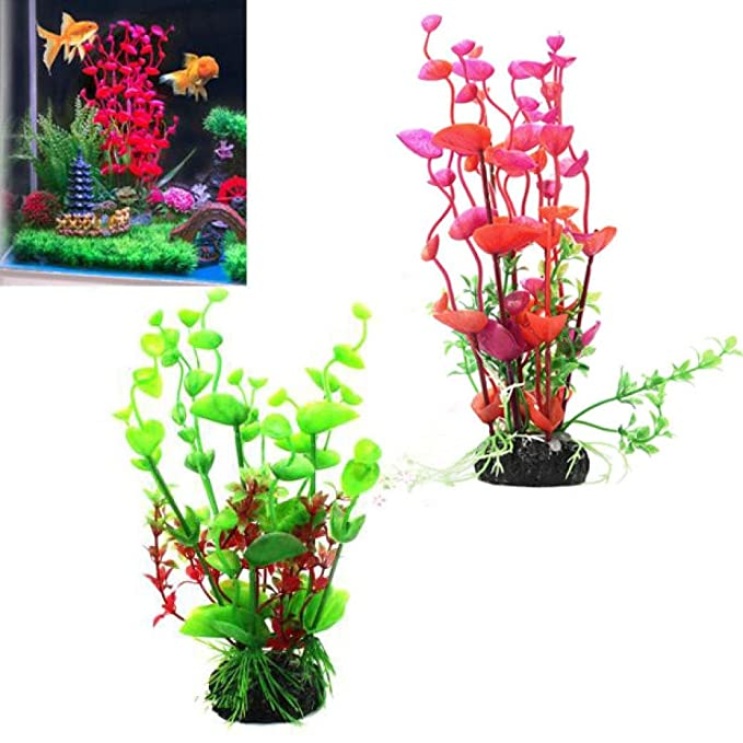 Amazon.com : Vacally Aquarium accessories Artificial Aquarium Fish Tank Plastic Grass Plants Decorative Decoration Grass Ornament mini plastic plants : Pet ...