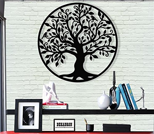 """DEKADRON Metal Wall Art - Tree of Life - Family Tree - 3D Wall Silhouette Metal Wall Decor Home Office Decoration Bedroom Living Room Decor Sculpture (28"""" W x 30"""" H/71x76cm)"""
