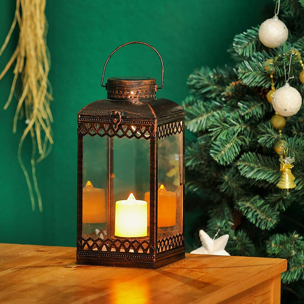 Solar Lantern Outdoor Hyacinth White Decor Antique Metal and Glass Construction Mission Solar Garden Lantern Indoor and Outdoor Solar Hanging Lantern Entirely Solar Powered Lantern of Low Maintenance