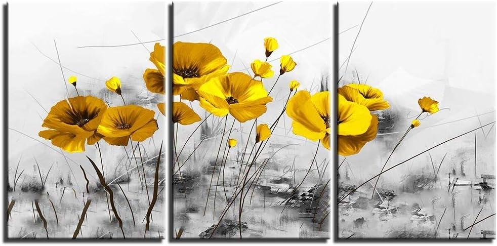 NOBRAND Cuadro En Lienzo Arte De La Pared del Hogar Decoración del Marco 3 Flores Amarillas Pintura Cartel Sala De Estar Decoración del Hogar 50Cmx70Cmx3 Sin Marco