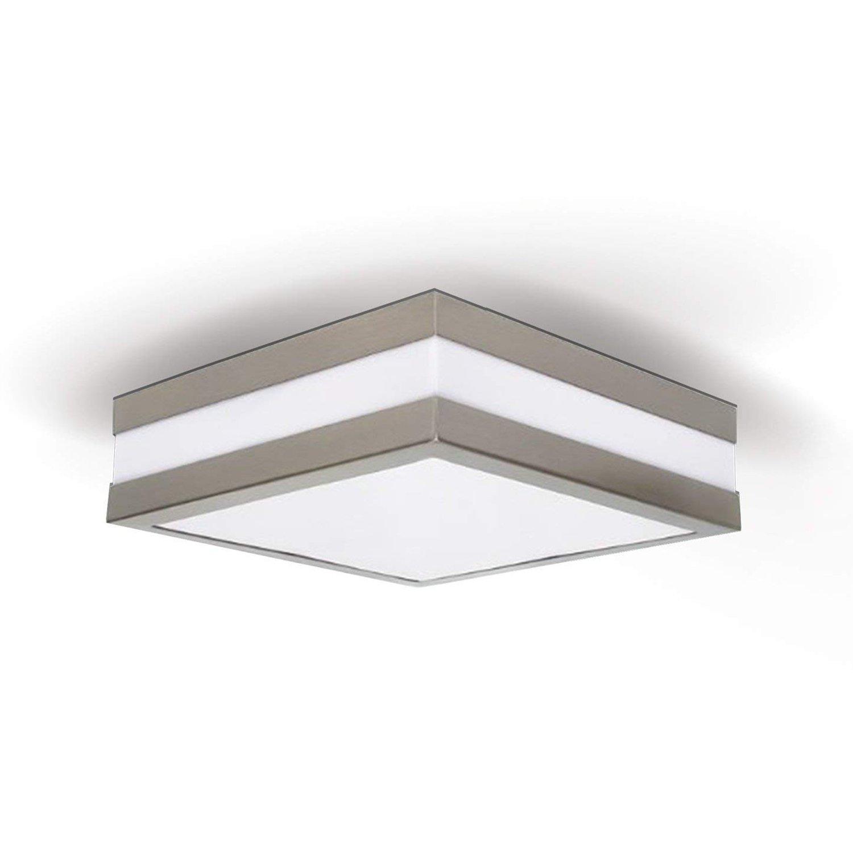 PROVANCE IP44 E27 Decken Wandleuchte Deckenlampe Wandlampe für LED & ESL (Quadratisch mit 2X LED 4.5W (2x 300lm)) JVS-Handel