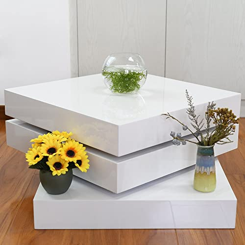 Coffee Table Rotating Contemporary Square White High Gloss Furniture for Living Room