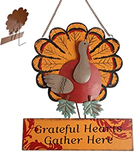 "MorTime Thanksgiving Hanging Turkey Wall Decor Welcome Sign, 15"" Metal Hanging Turkey Art Door Wall Sculpture, Harvest Turkey Decor for Home Office Thanksgiving Decorations"