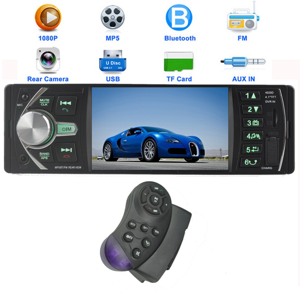 PolarLander 12V 4.1HD Autoradio Car Stereo-Radio-MP5 FM / 5V Ladegerä t / MP3 / MP4 / Audio/Video / USB/TF / AUX/Unterstü tzung Rü ckfahrkamera und Auto DVR Input 1 DIN