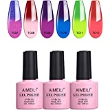 AIMEILI Soak Off UV LED Gel Nail Polish Temperature Colour Changing Chameleon Multicolour/Mix Colour/Combo Colour Set Of 6pcs X 10ml - Kit Set 15