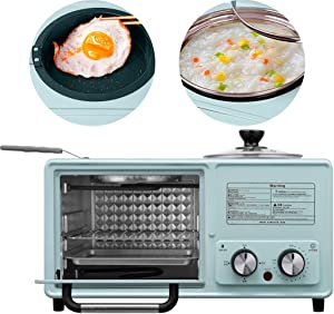 Electric Retro 4 in 1 Toaster Oven, Multi-Function Mini Chicken Oven, Vintage 800W Microwave Oven with Rack And Baking Pan, Grill, Bake, Broil, Toast, Pizza,Black