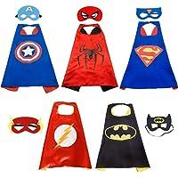 Hiveseen Super Hero Capes - 5 Capes et 5 Masques Halloween Costumes de Super Héros pour Enfants Cadeaux d'anniversaire - Deguisement Capes et Masques Jouets pour Filles et Garçons - Value Kit - Gene