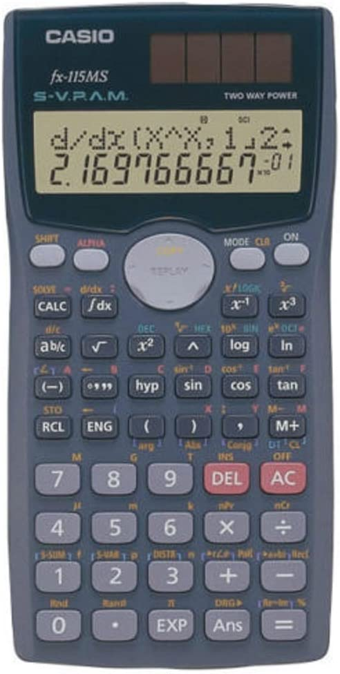 Scientific Calculators,2 Line Display,1″x3″x6″,Silver, Sold as 1 each