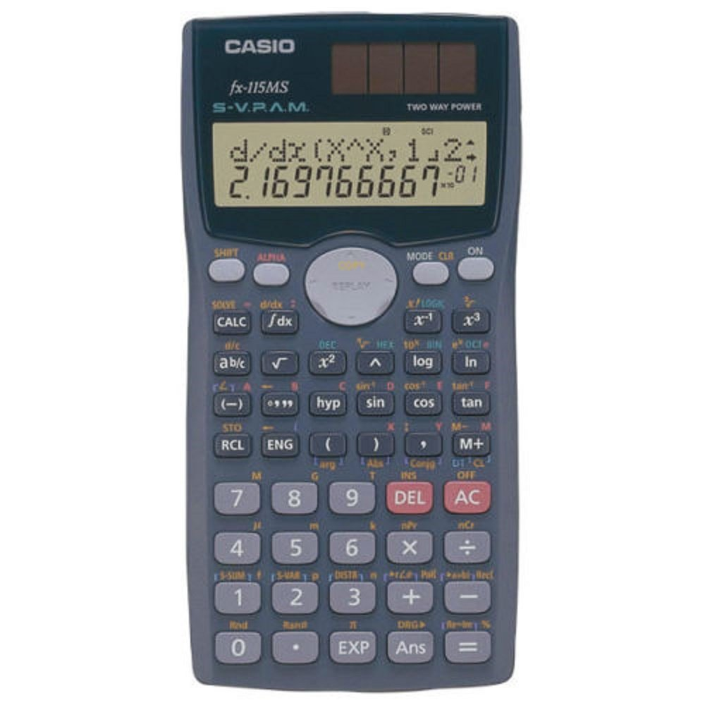Scientific Calculator,2 Line Display,1''x3''x6'',Silver, Sold as 1 each