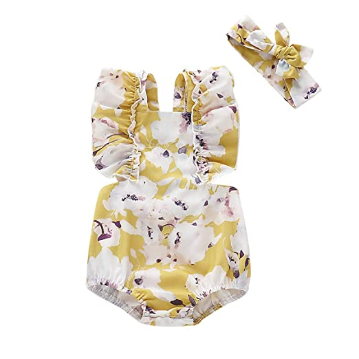 ba9fd2223 2PCS Newborn Infant Baby Girls Summer Romper Ruffled Floral Bodysuit  Overall Kids Jumpsuit Clothes Outfits,