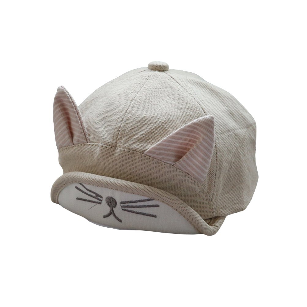 df042735cd7 Amazon.com  OULII Cute Lovely Spring Summer Children Dot Baby Embroidery  Cat Cap Girl Boys Peak Cap Sun Hat with Ear (Beige)  Clothing