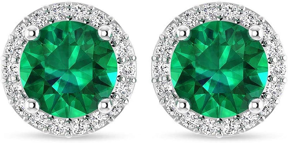 Piedra preciosa de halo redondo de diamante IJ-SI claridad de color, pendientes redondos esmeralda de novia, diamante de nacimiento certificado IGI regalo de boda para ella, tornillo hacia atrás