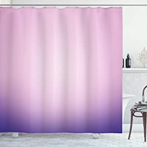 "Ambesonne Lavender Shower Curtain, Pink and Purple Ombre Print Modern Pastel Color Gradient Design Digital Art, Cloth Fabric Bathroom Decor Set with Hooks, 70"" Long, Pale Pink"