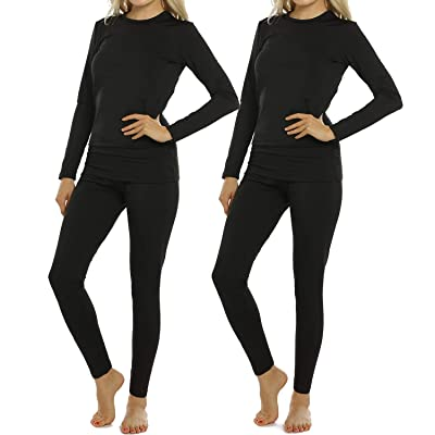Womens Thermal Underwear Set Long Johns with Fleece Lined Ultra Soft Top & Bottom Base Layer Thermals for Women at Women's Clothing store