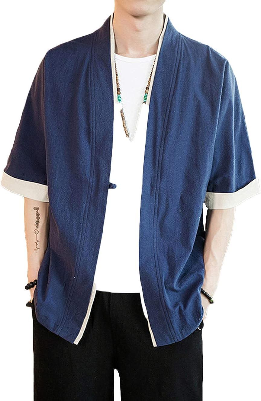 ULEEMARK Hombres Kimono Cárdigan Japonesa Informal Chaqueta: Amazon.es: Ropa y accesorios