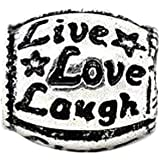 Live Love Laugh Silver Plated Charm Bead will fit European charm bracelets