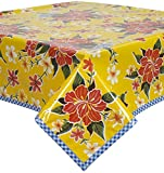 Hawaii Yellow Oilcloth Tablecloth with Blue Gingham Trim You Pick the Size