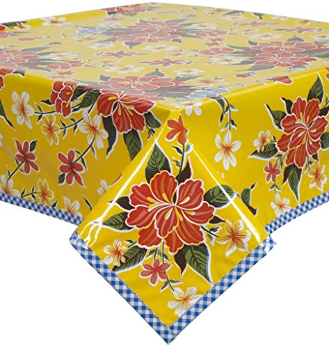 Hawaii Yellow Oilcloth Tablecloth with Blue Gingham Trim You Pick the Size by Freckled Sage Oilcloth Products