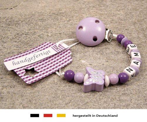 Schnullerhalter mit Wunschnamen kleinerStorch Baby SCHNULLERKETTE mit Namen M/ädchen Motiv Schmetterling in Flieder