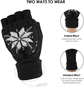YeShiDianPu Unisex Women's & Men's USB Heated Gloves Mitten Winter Hands Warm Laptop Gloves,Yinuoday Full & Half Heated Fingerless Heating Knitting Hands Warmer Washable Design