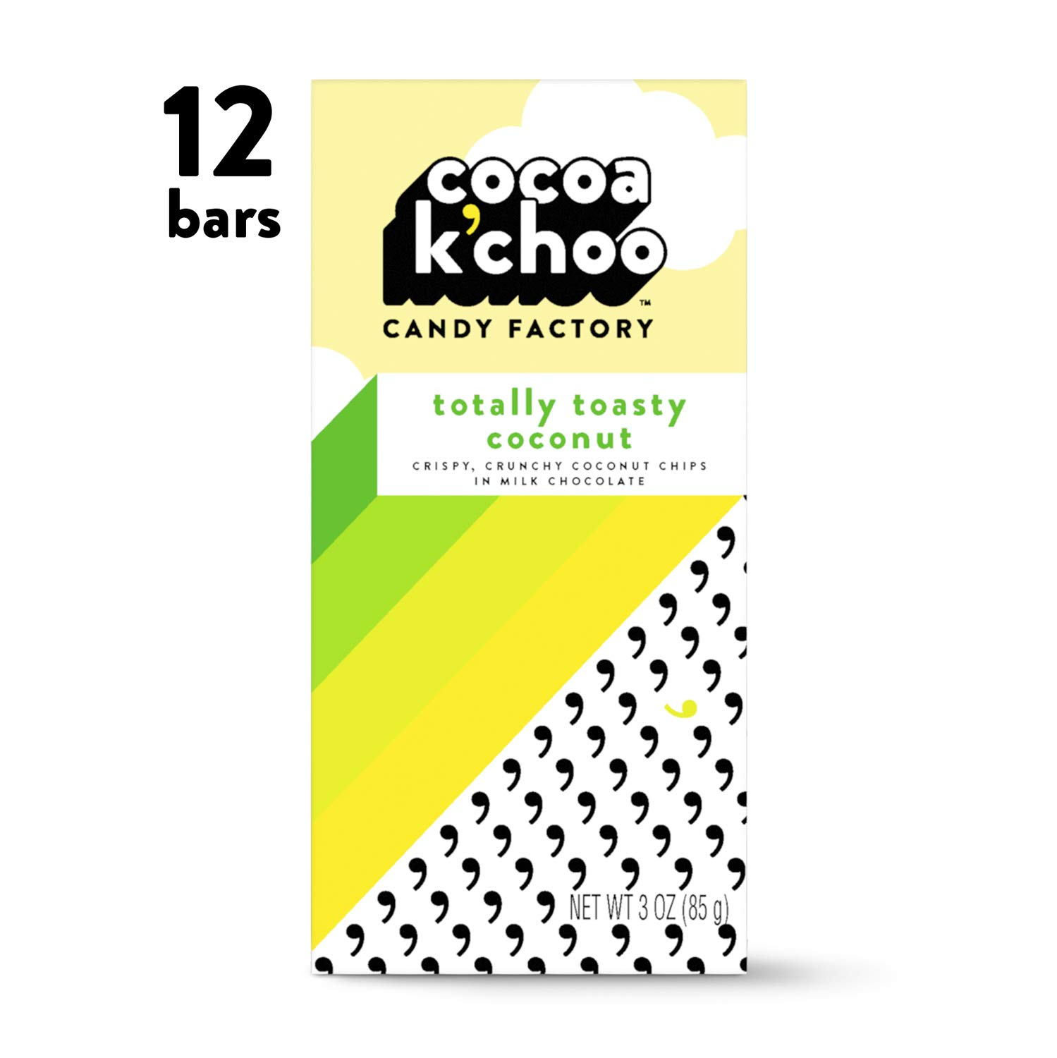 Cocoa K'Choo Milk Chocolate Totally Toasty Coconut 3 oz. bar (Pack of 12)