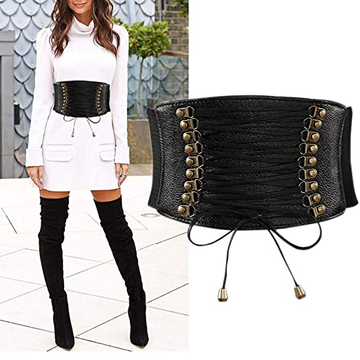 5b0c4ed625 Image Unavailable. Image not available for. Color  Womens PU Leather Belt  High Waist Cincher ...