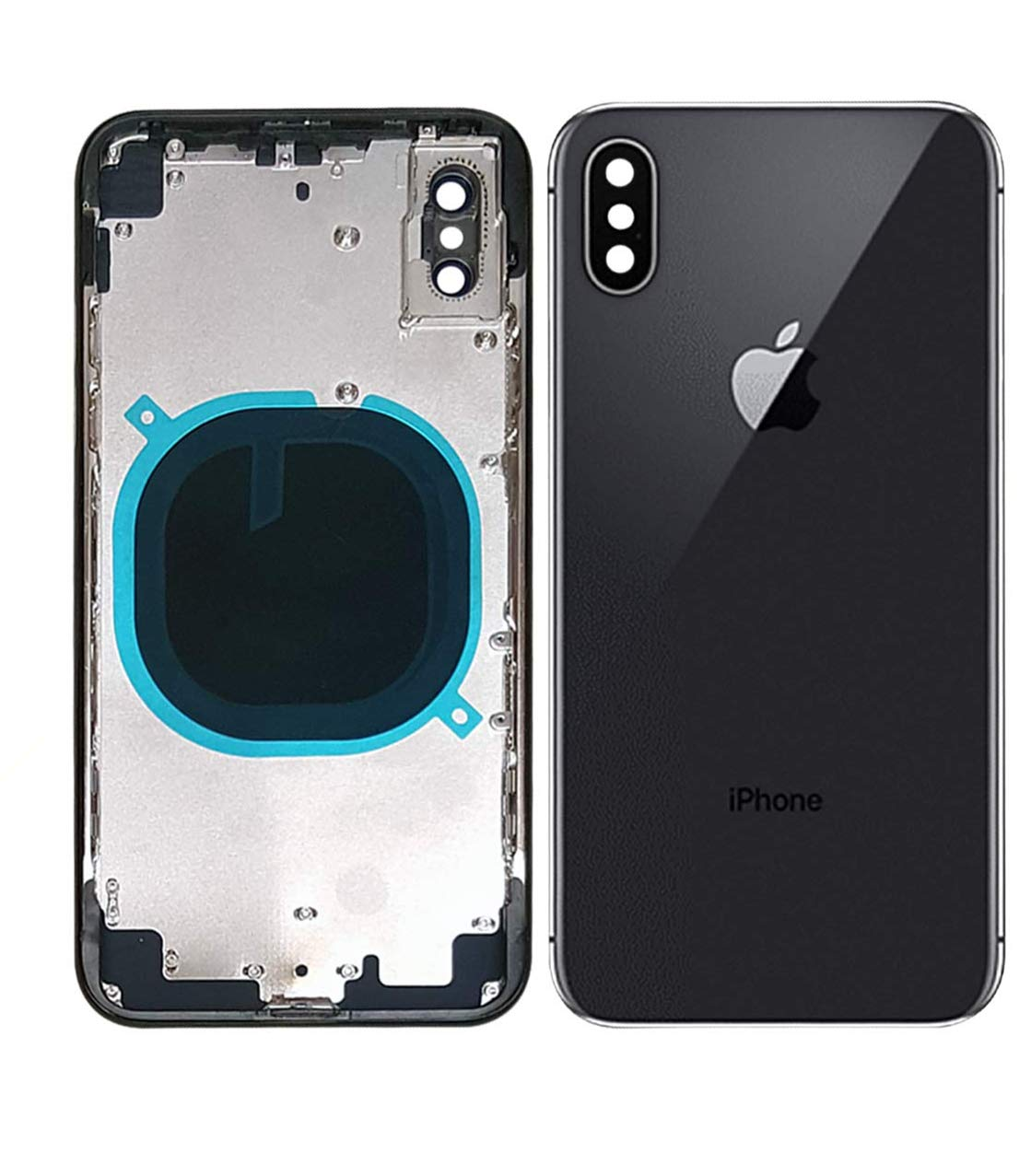 Back Housing Assembly Metal Frame w/Back Glass(OEM) - Camera Frame and Lens for iPhone X (Black) by ABUSVEX