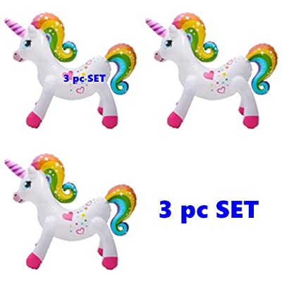 "Happy Deals~ (Set of 3) Rainbow Unicorn - 24"" Inflatable Unicorns: Toys & Games"