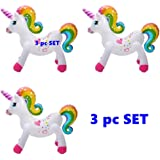 "Happy Deals~ (Set of 3) Rainbow Unicorn - 24"" Inflatable Unicorns"
