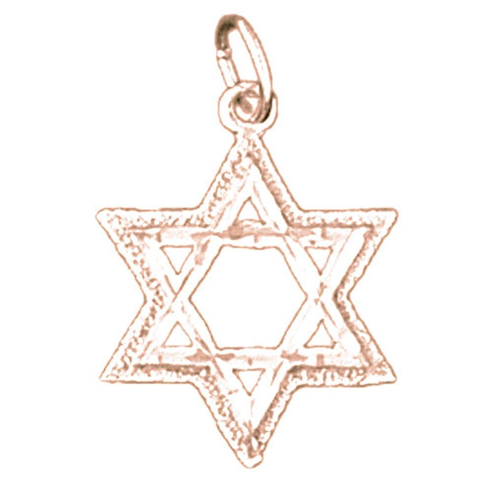 14K Rose Gold-plated 925 Silver Star of David Pendant with 16 Necklace Jewels Obsession Star Of David Necklace