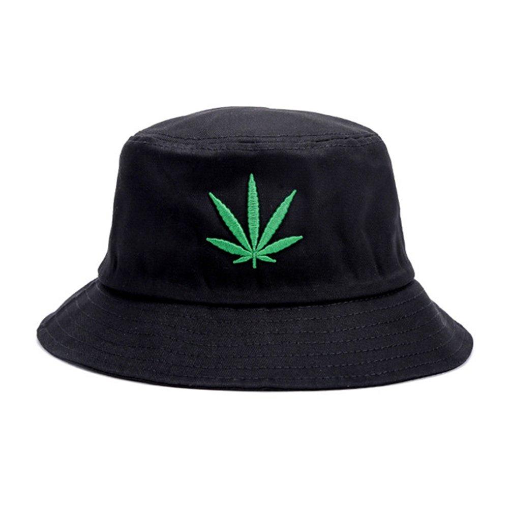 Weed Bucket Cap, Marijuana Unisex Fishing Cannabis Embroidered Sun Flat Cap Hat