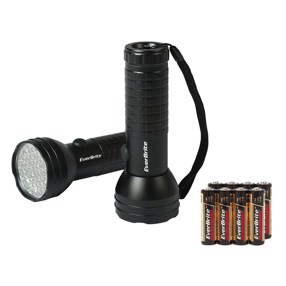 EverBrite 2-Pack 150 Lumen Aluminum Handheld Flashlight 50 LED Torch Waterproof Batteries Included Black with Lanyard