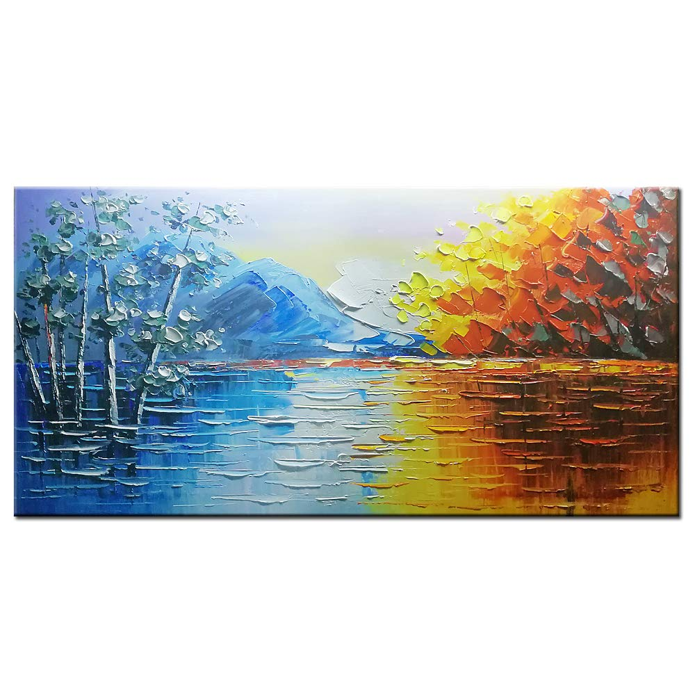 Okbonn Landscape Wall Art 3d Hand Painted Mountains Oil Paintings On Canvas Blue And Brown Abstract Artwork Framed Large Wall Art For Living Room