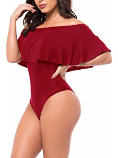 bf0f6cad3bc Famulily Women s Off Shoulder One Piece Swimsuit Ruffle Bodycon Bodysuit  Swimwear