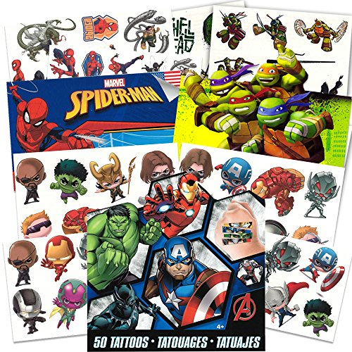 Super Hero Party Supplies Set -- 126 Temporary Tattoos Featuring Marvel Avengers, Spiderman and Teenage Mutant Ninja -