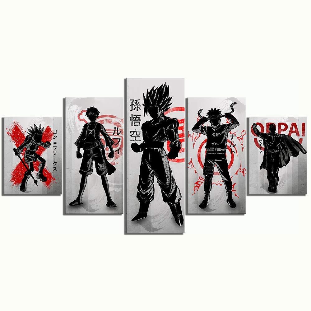 XLST Impressions HD 5 Panneau Anime Manga Dessin anim/é Personnages Ouvrages dart Toile Peintures Dragon Ball Goku Naruto Art Mural D/écoration de Maison,B,20X35X220X45X220X55X1