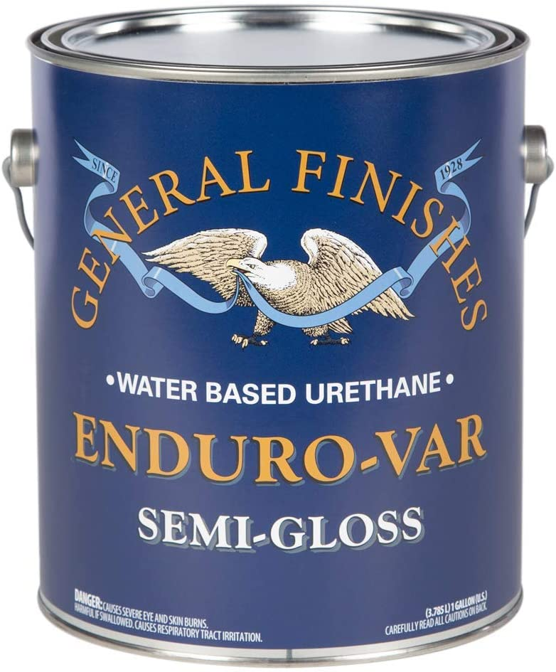 General Finishes Enduro-VAR Water Based Urethane Topcoat, 1 Gallon, Semi-Gloss